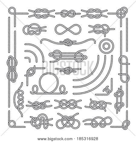 Nautical rope knots vector decorative vintage elements. Set of rope knots, illustration of vintage rope marine