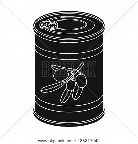 Canned olives in a can.Olives single icon in black style vector symbol stock illustration .