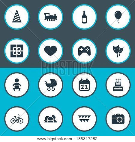 Vector Illustration Set Of Simple Celebration Icons. Elements Train, Aerostat, Special Day And Other Synonyms Fizz, Calendar And Joystick.