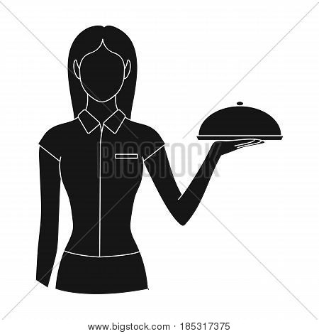 The waitress.Professions single icon in black style vector symbol stock illustration .