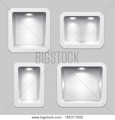 Empty white plastic boxes or niche display, 3d exposition product shelves with lighting. Exhibition interior with niche in wall. Vector illustration