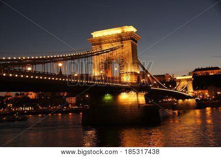 Night view of Chain Bridge (one of the landmarks), Budapest. Hungary.
