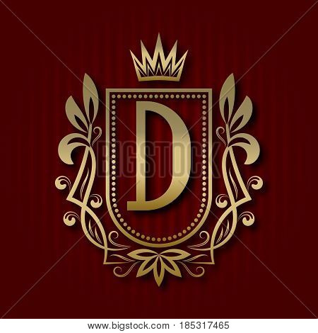 Golden royal coat of arms in medieval style. Vintage logo with D monogram.