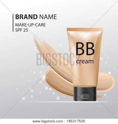 BB Cream plastic tube Template. Makeup mockup for ads or magazine whith liquid foundation on glitter sparkle background. 3D Realistic Vector Iillustration.