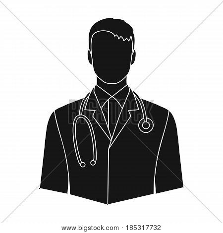 Doctor.Professions single icon in black style vector symbol stock illustration .