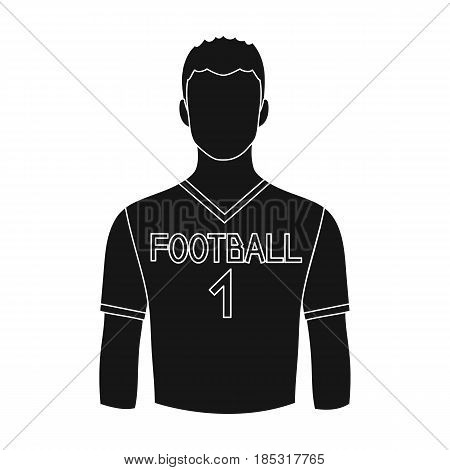Footballer.Professions single icon in black style vector symbol stock illustration .