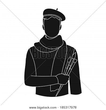 Artist.Professions single icon in black style vector symbol stock illustration .