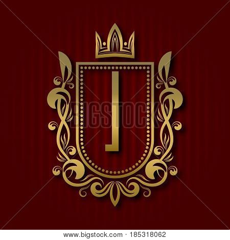 Golden royal coat of arms in medieval style. Vintage logo with I monogram.