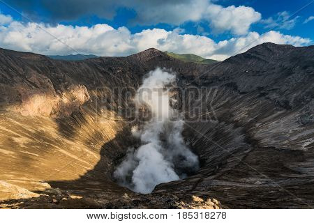 View into the Mount Bromo crater (Gunung Bromo) the breathing of Java in Bromo Tengger Semeru National Park, East Java, Indonesia