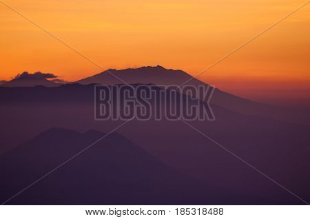 Sunrise At Mountain Near Mount Bromo Volcanoes In Bromo Tengger Semeru National Park, East Java, Ind