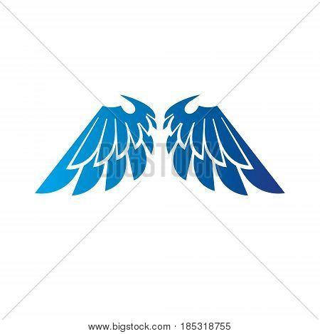 Ancient Symbolic Blue Wings Emblem. Heraldic Vector Design Element. Retro Style Label, Heraldry Logo