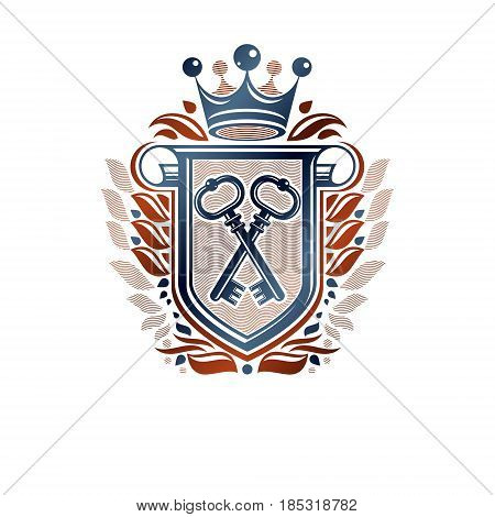 Heraldic Coat Of Arms Decorative Emblem With Cartouche. Protection Shield Emblem Created With Imperi