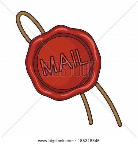 Wax seal.Mail and postman single icon in cartoon style vector symbol stock illustration .