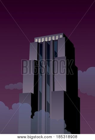 Cartoon skyscraper at night in Art Deco style.