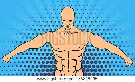 Bodybuilder muscle handsome athlete. Retro style pop art sports and fitness