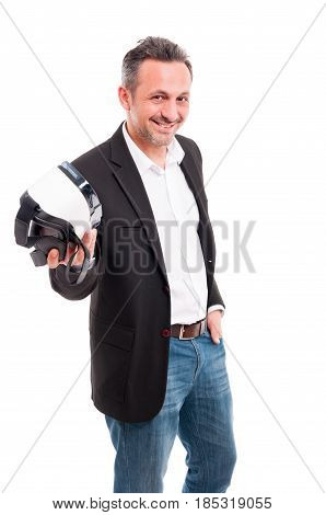 Smiling Handsome Male Holding Futuristic Vr Gadget