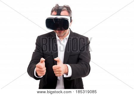 Man Simulating A Game While Using Vr Glasses