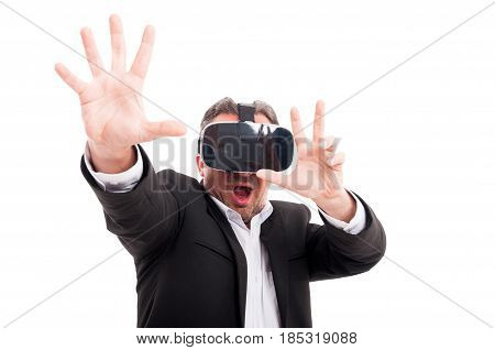 Man With Virtual Reality Goggles In Scary Action