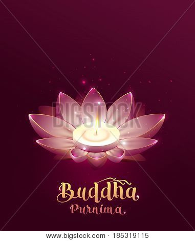 Buddha Purnima Vesak day lettering text greeting card. Lotus flower and burning candle. Illustration in vector format