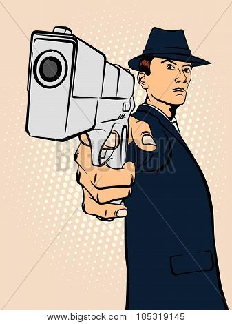 Man with arms. Retro style pop art. Vector illustration
