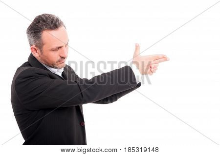 Secret Agent Taking Aim With His Hand