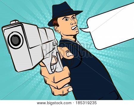Man with a gun. Retro style pop art. Vector illustration
