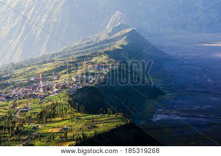 Village In Mount Bromo In Bromo Tengger Semeru National Park, East Java, Indonesia