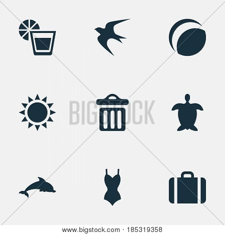 Vector Illustration Set Of Simple Beach Icons. Elements Bikini, Suitcase, Mammal Fish And Other Synonyms Aquatic, Adventure And Mammalian.