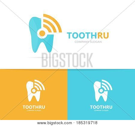 Vector of tooth and wifi logo combination. Dental and signal symbol or icon. Unique clinic and radio, internet logotype design template.