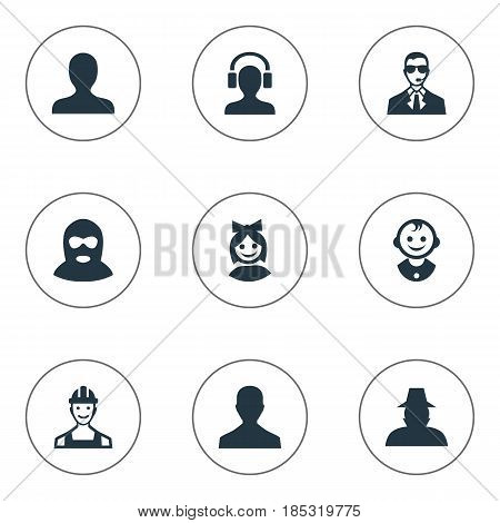 Vector Illustration Set Of Simple Avatar Icons. Elements Portrait, Girl Face, Bodyguard And Other Synonyms User, Offender And Worker.