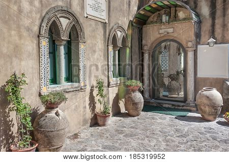 Detail of Villa Cimbrone located in the center of Ravello in the Amalfi Coast Salerno Italy to understand a concept of architecture and tourism