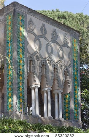 Detail of Villa Cimbrone with oriental remarks at Ravello on the Amalfi Coast to understand a concept of tourism and culture