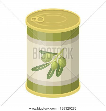 Canned olives in a can.Olives single icon in cartoon style vector symbol stock illustration .