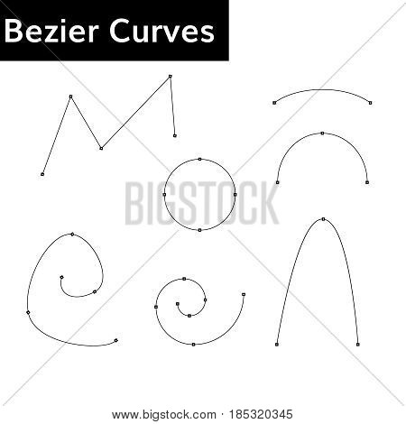 bezier curves set with control  points  vector