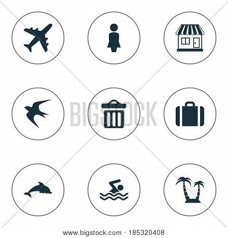 Vector Illustration Set Of Simple Beach Icons. Elements Mammal Fish, Swimming Man, Garbage And Other Synonyms Mammalian, Seagull And Beach.