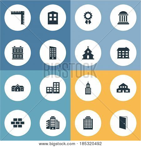 Vector Illustration Set Of Simple Structure Icons. Elements Gate, School, Popish And Other Synonyms House, Home And Medal.