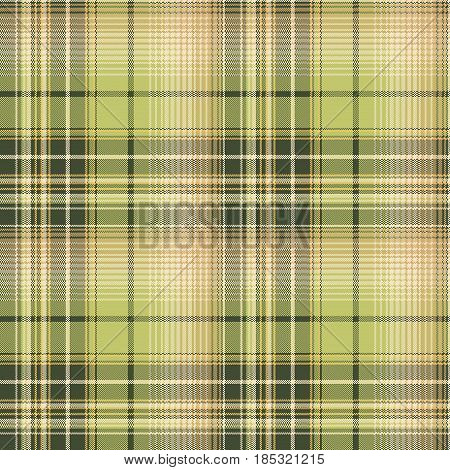 Green beige pixel check fabric texture seamless pattern. Vector illustration.