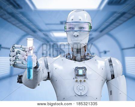 Cyborg Holding Test Tube