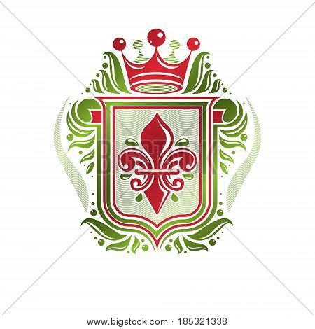 Vintage Heraldic Insignia Made With Monarch Crown And Lily Flower Royal Symbol. Eco Friendly Product