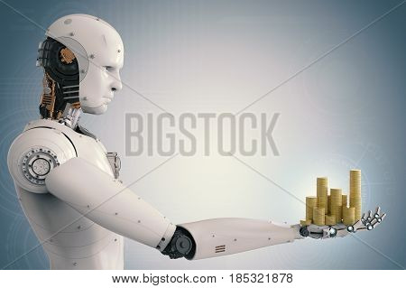 Android Robot Holding Gold Coins