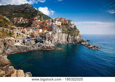 picturesque village of Manarola, on the Cinque Terre coast of Italy