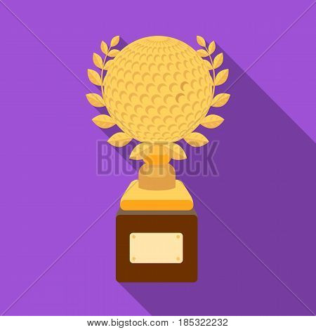 Cup for winning a golf tournament.Golf club single icon in flat style vector symbol stock illustration .