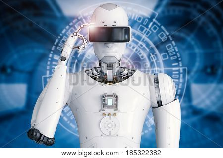 Android Robot Wearing Vr Headset