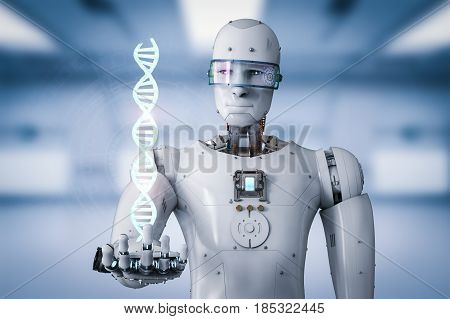 Android Robot Holding Dna Helix