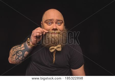 Portrait of cute male fatso touching his moustache and staring at camera playfully. He has bow on beard. Isolated on black background