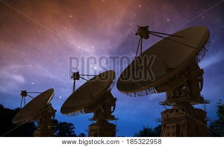 Satellite Dish In A Row