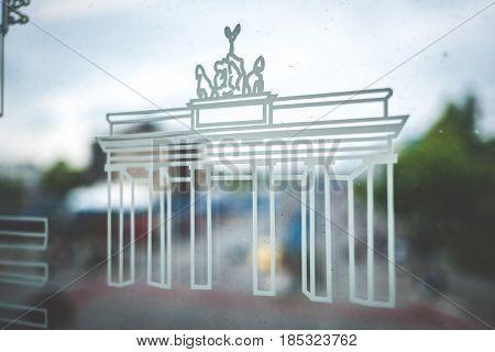 Brandenburger Tor (brandenburg Gate) Symbol On Subway Train Window