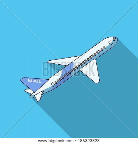 Postal aircraft.Mail and postman single icon in flat style vector symbol stock illustration .