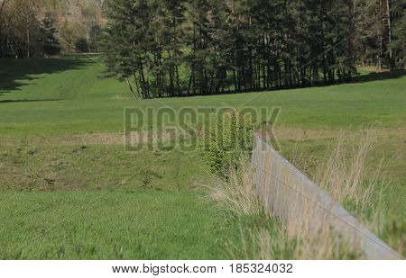 Hilpoltstein, Germany - Apr 18 2017 : Scheitelhaltung, A Granite Wall Marking The European Watershed