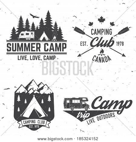 Camper and caravaning club. Vector illustration. Concept for shirt or logo, print, stamp or tee. Vintage typography design with Camper tent and forest silhouette.